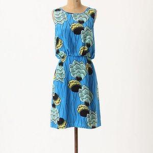 ANTHROPOLOGIE PALMA SARIAH BLUE PRINT DRESS 2